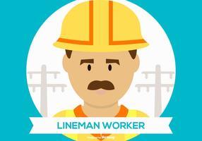 Illustrazione sveglia del lavoratore di Lineman
