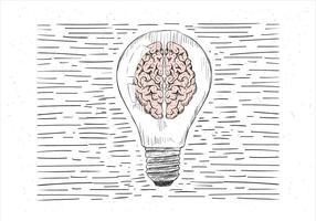 Illustrazione disegnata a mano libera della lampadina di vettore