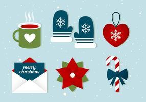 Icone di vacanze invernali vettoriali gratis Design piatto