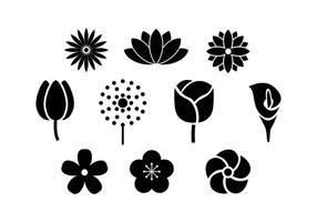 Vettore dell'icona della siluetta dei fiori
