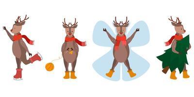 set di renne di Natale vettore