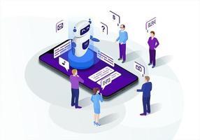 marketing isometrico di chatbot vettore