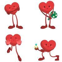 cuore di cartone animato in diverse pose vettore