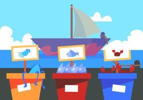 Mercato del pesce del porto vettore