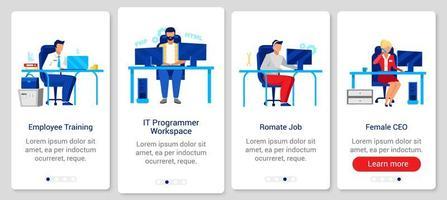 schermate di app per dispositivi mobili onboarding stile di vita aziendale