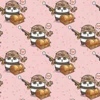 cartone animato panda pirata kawaii senza soluzione di continuità con motivo torace vettore
