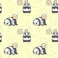 modello adorabile di panda e gatto senza soluzione di continuità vettore
