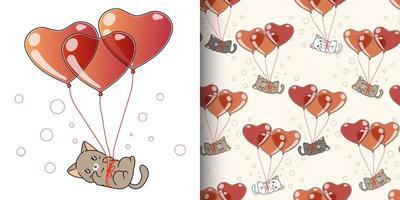 gatto kawaii senza cuciture che vola con 3 palloncini cuore vettore