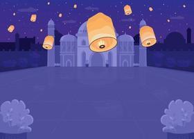 festival delle lanterne piatto vettore