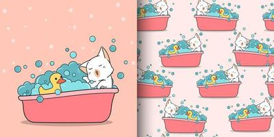 gatto kawaii senza cuciture che bagna con anatra di gomma
