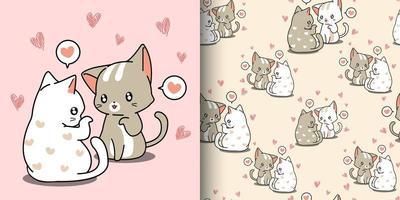 coppia di gatti kawaii che bisbigliano amore con motivo a cuori vettore