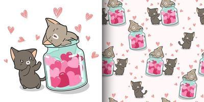 gatti e cuori kawaii senza cuciture all'interno della bottiglia vettore