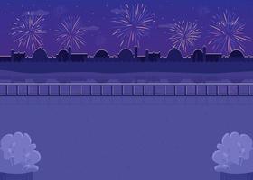 fuochi d'artificio notturni in sottofondo