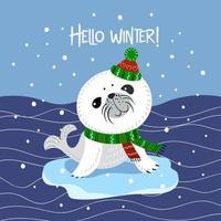 simpatico cucciolo di foca con cappello e sciarpa lavorati a maglia vettore