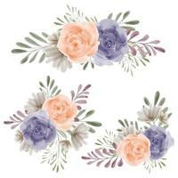 composizione floreale rosa acquerello impostato per elemento di decorazione vettore