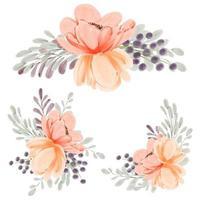 composizione floreale di peonia pesca acquerello impostato per elemento di decorazione vettore