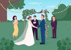 cerimonia di matrimonio rurale vettore