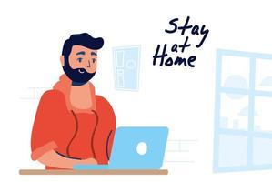 campagna di home office con l'uomo sul laptop