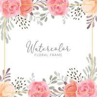 cornice floreale con fiore di peonia rosa illustrazione dipinta a mano ad acquerello vettore