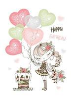 carta di compleanno con ragazza carina con torta e palloncini