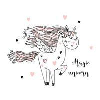 simpatico unicorno magico con le ali vettore