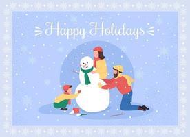 la famiglia fa la cartolina d'auguri del pupazzo di neve