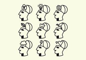 Testa piena di vettori di idee