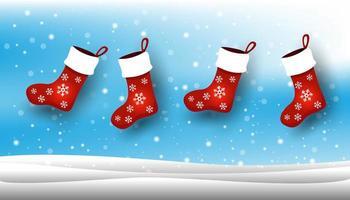 calza di Natale, sfondo con la neve di Natale. vettore