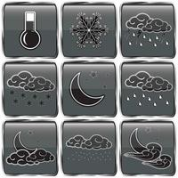 set di icone di colore grigio meteo notturno vettore