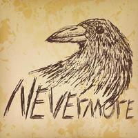 Mai più testo schizzo disegnato a mano corvo corvo vettore