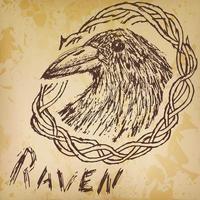 schizzo disegnato a mano corvo corvo in prugnolo. vettore