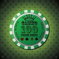poker chip 100 su sfondo verde vettore