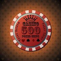 poker chip 500 su sfondo arancione vettore