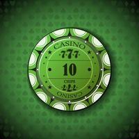 poker chip nominale dieci, su sfondo simbolo di carta vettore