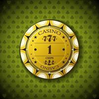 poker chip nominale uno, su sfondo simbolo di carta vettore