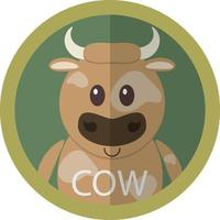 carino, marrone, mucca, cartone animato, appartamento, icona, avatar vettore