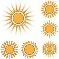 diverse icone del sole impostate isolate vettore