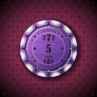 poker chip nominale cinque, su sfondo simbolo di carta vettore
