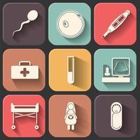 icona piana di gravidanza impostata sul colore vettore