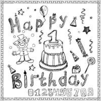 elementi di festa di compleanno colorati schizzo disegnato a mano