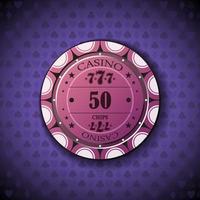 poker chip nominale cinquanta, su sfondo simbolo di carta vettore