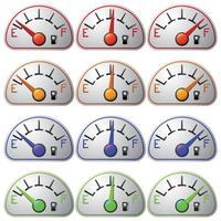 set misuratore carburante isolato su sfondo bianco vettore