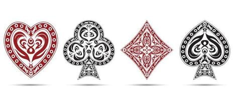 picche, cuori, quadri, simboli del poker di fiori vettore