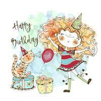 biglietto di auguri di compleanno con una ragazza carina dai capelli rossi e un simpatico gatto