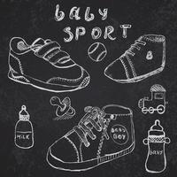 scarpe per bambini impostare schizzo disegnato a mano sulla lavagna vettore