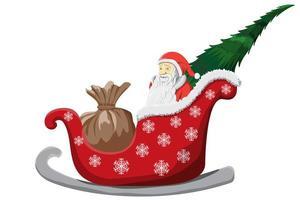 Babbo Natale Natale slitta isolato vettore