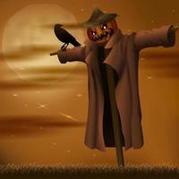 spaventapasseri malvagio di notte di halloween vettore