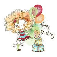 carta di compleanno con una ragazza carina dai capelli rossi