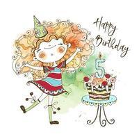 biglietto di auguri di compleanno con una ragazza carina dai capelli rossi e una grande torta