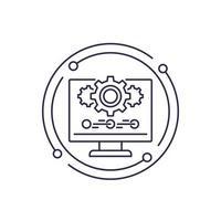 icona della linea di aggiornamento o aggiornamento software vettore